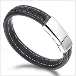 Black Genuine Leather Stainless Steel Men Bracelet CHBD-52