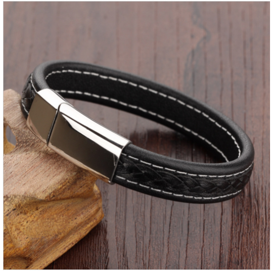 Black Genuine Leather Stainless Steel Men Bracelet CHBD-52 image