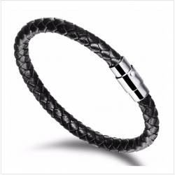Genuine Leather Rope Bracelet Stainless Steel Men Bracelets With Magnetic Buckle  CHBD-53