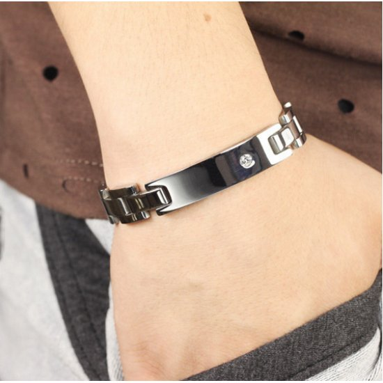 Lovers Stainless Steel with Magnetic Radiation Anti-Fatigue Couple Titanium Steel Bracelet CHBD-55 image