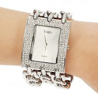 Princess Arm SilverPlated Stainless Steel Bracelet Watch For Women's CHD 10S