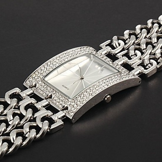 Princess Arm SilverPlated Stainless Steel Bracelet Watch For Women's CHD 10S image