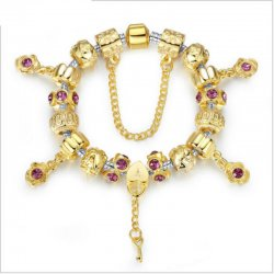 CHARM GOLD PLATED BEADS BRACELETS WITH CRYSTAL CBD-02