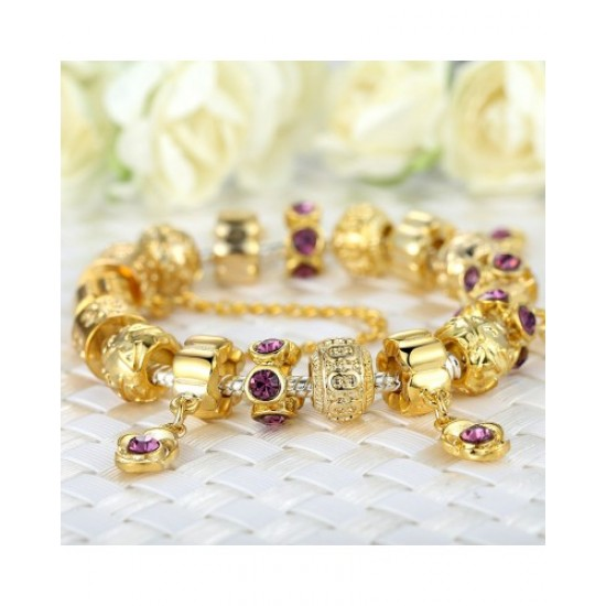 CHARM GOLD PLATED BEADS BRACELETS WITH CRYSTAL CBD-02 image