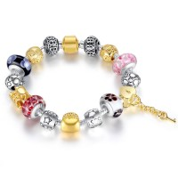 DIY MURANO CHARM GLASS BEADS BRACELETS WITH CRYSTAL SILVER & GOLD PLATED CBD-04