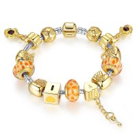 European 18K Gold Plated Bead Charm Bracelets With Crystal Bangle Women DIY Gift CBD-05