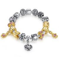 European Charm Gold Crystal Bracelet Fit Women Lady Pendant Fashion Jewelry CBD-06