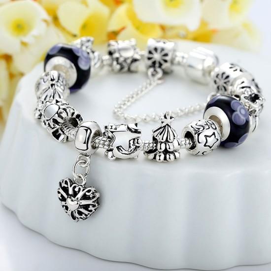 Silver Murano Bead Charm Bracelets With Crystal Women Bangle Jewelry CBD-07BK image