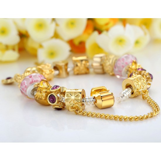 European Women Gold Plated Charm Bead Bracelet With Crystal Bangle CBD-08 image