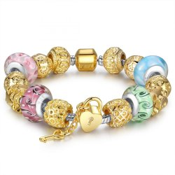 GOLD PLATED CHARM BRACELET AND BANGLE FOR WOMEN WITH MULTICOLOR MURANO GLASS BEADS CBD-09