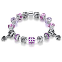 European Purple Bead Bracelet With Purple Ziron Silver Plate Women Bangle CBD-10PL