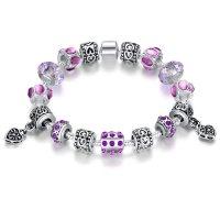 European Purple Bead Bracelet With Purple Ziron Silver Plate Women Bangle CBD-10PL