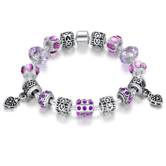 European Purple Bead Bracelet With Purple Ziron Silver Plate Women Bangle CBD-10PL image