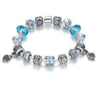 European Blue Crystal Murao Bead Charm Bracelet For Women Fashion Jewelry Bangle CBD-10BL