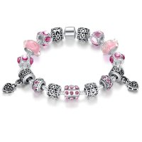 European Charm Pink Bead Bracelet With Red Ziron Silver Plate For Women CBD-10PK