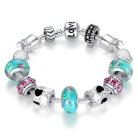 Silver Charms Bracelet European Blue Murano Beads DIY Fashion Jewelry For Women CBD-13