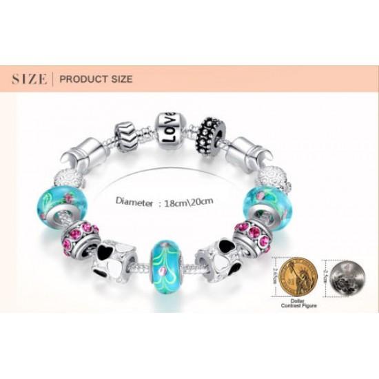 Silver Charms Bracelet European Blue Murano Beads DIY Fashion Jewelry For Women CBD-13 image
