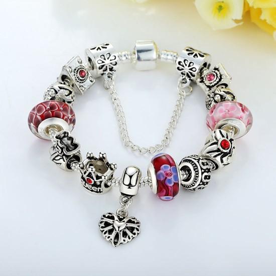 Fashion Jewelry European Pendants Charms Bead Silver Bracelet For Women CBD-14RD image