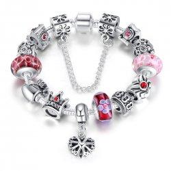 Fashion Jewelry European Pendants Charms Bead Silver Bracelet For Women CBD-14RD