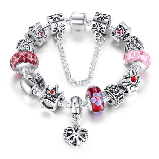 Fashion Jewelry European Pendants Charms Bead Silver Bracelet For Women CBD-14RD image
