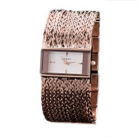 Gues Rose Gold Square Bracelet Princess Chain Watch CHD-26