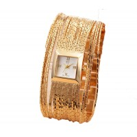 Taylor Tee Women Ladies Gold Tassel Bracelet Watch Quartz Square White Dial CHD-16G