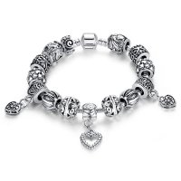 European Hearts Charms Bracelets With DIY Tibetan Silver Black Beads For Ladies CBD-21