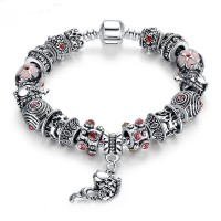 European Silver Charm Bracelets Fish Designed With Murano Glass for Women CBD-23