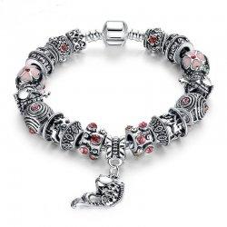 European Silver Charm Bracelets Fish Designed With Murano Beads CBD-23