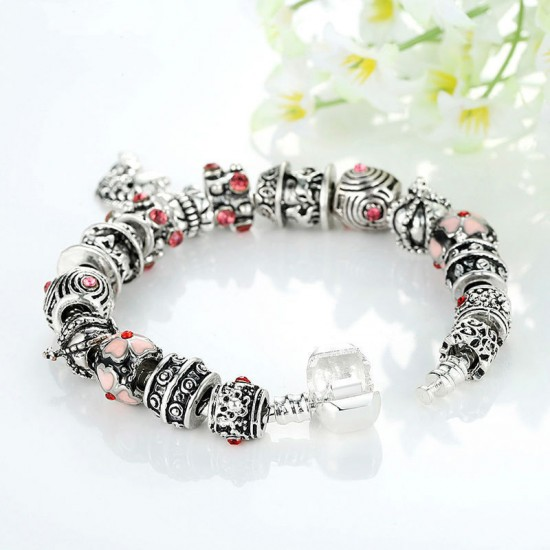 European Silver Charm Bracelets Fish Designed With Murano Beads CBD-23 image