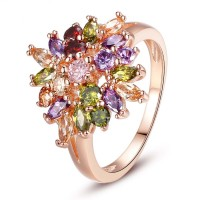 Lurxury Women Ladies Rose Gold Plated Finger Ring With Multi-colors AAA Zircon CBR-06