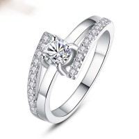 Jewelry LOVE Silver Plated Finger Ring With Inlaid AAA Zircon For Women CBR-07