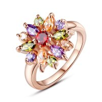 Gold Plated Finger Ring with AAA Multicolor Cubic Zircon For Women GIFT CBR-04