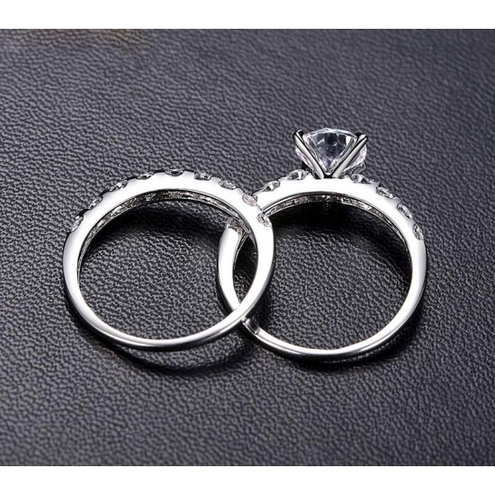 Double Women Silver Rings With AAA Zircon Engagement Size 7, 8. Can Separated CBR-08 image