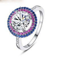 Silver Plated Round Finger Ring With Purple AAA Zircon For Women Jewelry CBR-09