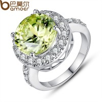 Wedding Jewelry Luxury Silver Finger Ring With Big Green AAA Zircon CZ For Women CBR-11