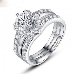 Women Finger 925 Silver With AAA Zircon 3 Layers Ring Can Be Separated CBR-12