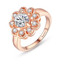 Micro-inserts 18K Gold Plated Flower Ring With AAA Zircon For Women Gift Jewelry CBR-58