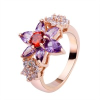 Bamoer Luxury 18K Gold Plated Flower Finger Rings with Purple and Red Zircon Hot CBR-56