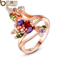 European Women 18k Gold Plated Multicolor Flower Finger Ring With Zircon Crystal CBR-51