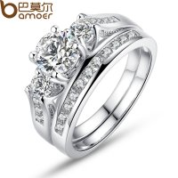 Women Wedding Gift Luxury Platinum plating Ring With AAA Zircon Jewelry CBR-50
