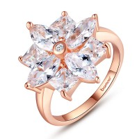 Nice 18K Gold Plated Flower Ring With AAA Zircon For Women Gift Fashion Jewelry CBR-54