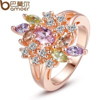 18K Rose Gold Plated Finger Ring With Multi-colors AAA Zircon For Women Lurxury CBR-48
