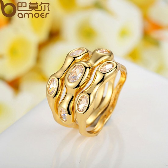 2015 Lurxury 18K Gold Plated Finger Set Ring With AAA Cubic Zircon For Women Hot CBR-47 image