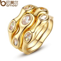 2015 Lurxury 18K Gold Plated Finger Set Ring With AAA Cubic Zircon For Women Hot CBR-47