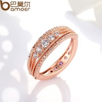 New 18K Gold Plated Finger Ring With Purple AAA Zircon For Women Wedding Jewelry CBR-46