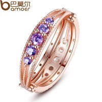 New 18K Gold Plated Finger Ring With Purple AAA Zircon For Women Wedding Jewelry CBR-45
