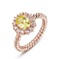 High Quality 18K Gold Plated Ring With Yellow Round AAA Cubic Zircon For Women CBR-38