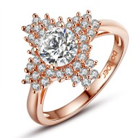 New Luxury Gold Plated Ring for Women with Big Clear AAA CZ Women Party Jewelry CBR-34