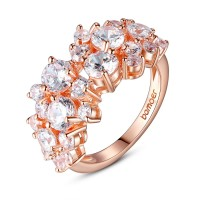 Champagne 18K Gold Plated Flower Ring with Zircon Stone For Women Birthday GIFT CBR-33
